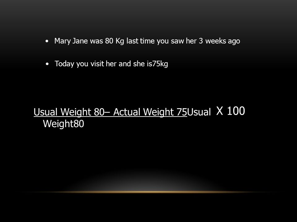 X 100 Usual Weight 80– Actual Weight 75Usual Weight80
