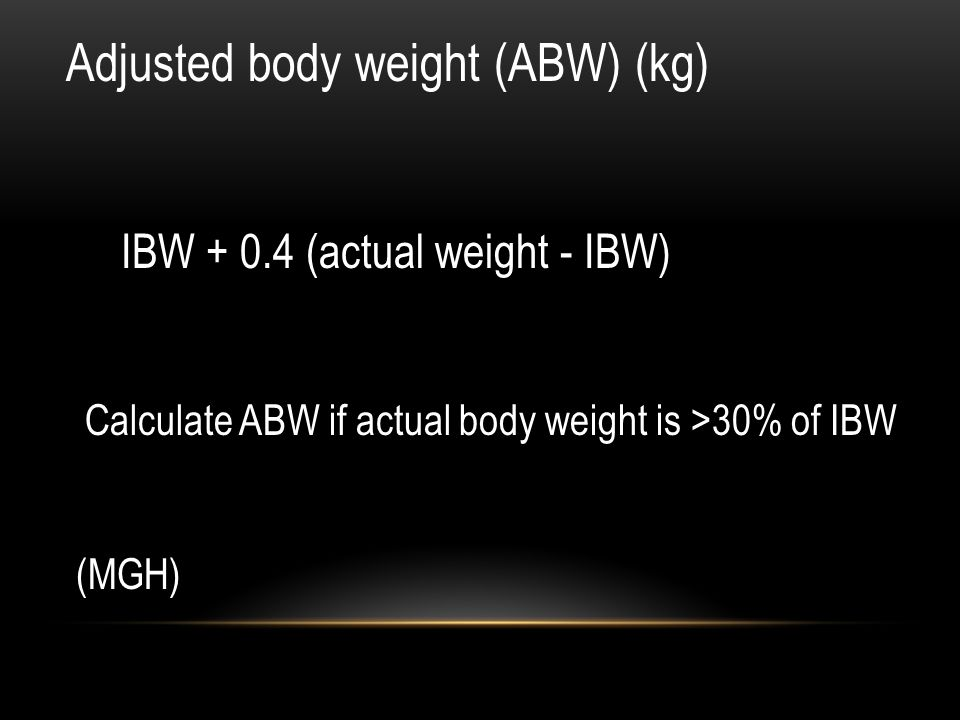 Adjusted body weight (ABW) (kg)