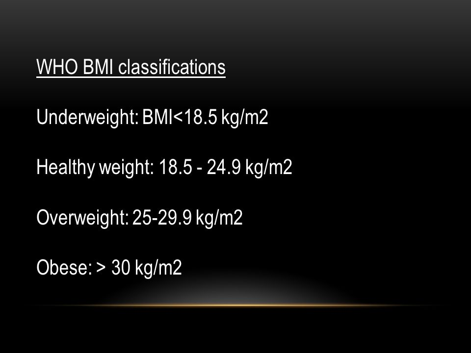 WHO BMI classifications