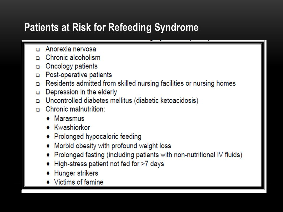 Patients at Risk for Refeeding Syndrome