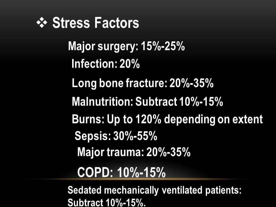 Stress Factors COPD: 10%-15% Major surgery: 15%-25% Infection: 20%