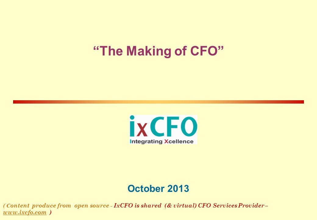 The Making of CFO October 2013