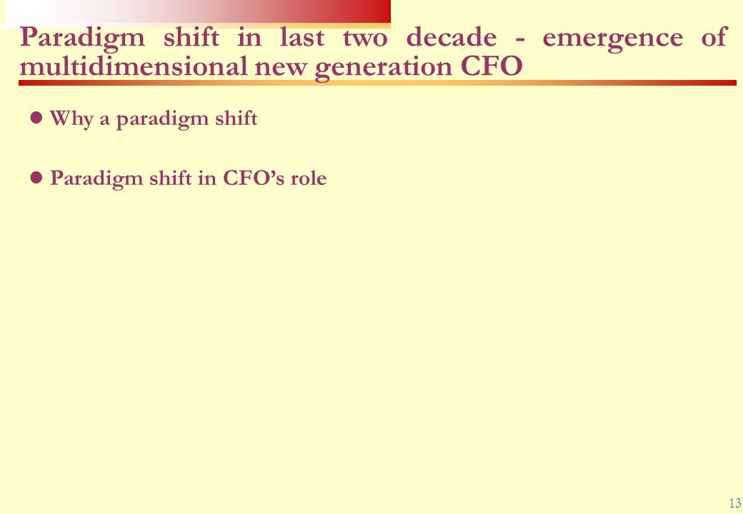 Paradigm shift in last two decade - emergence of multidimensional new generation CFO