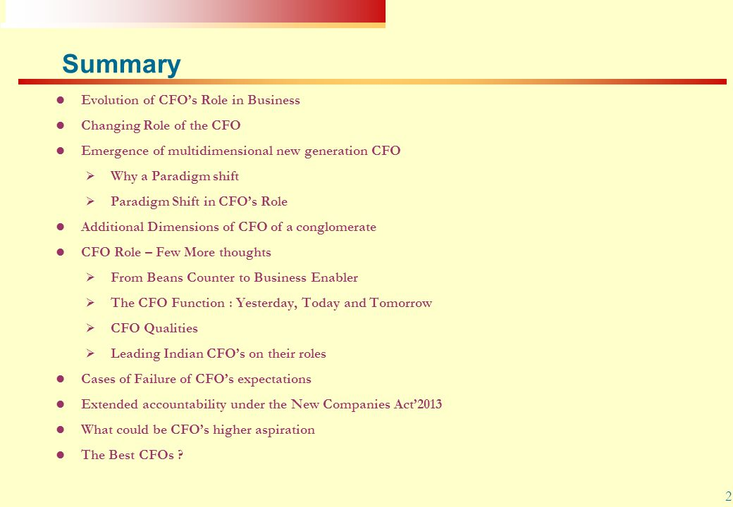 Summary Evolution of CFO's Role in Business Changing Role of the CFO