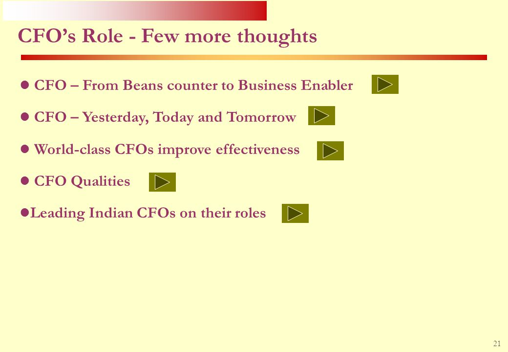 CFO's Role - Few more thoughts