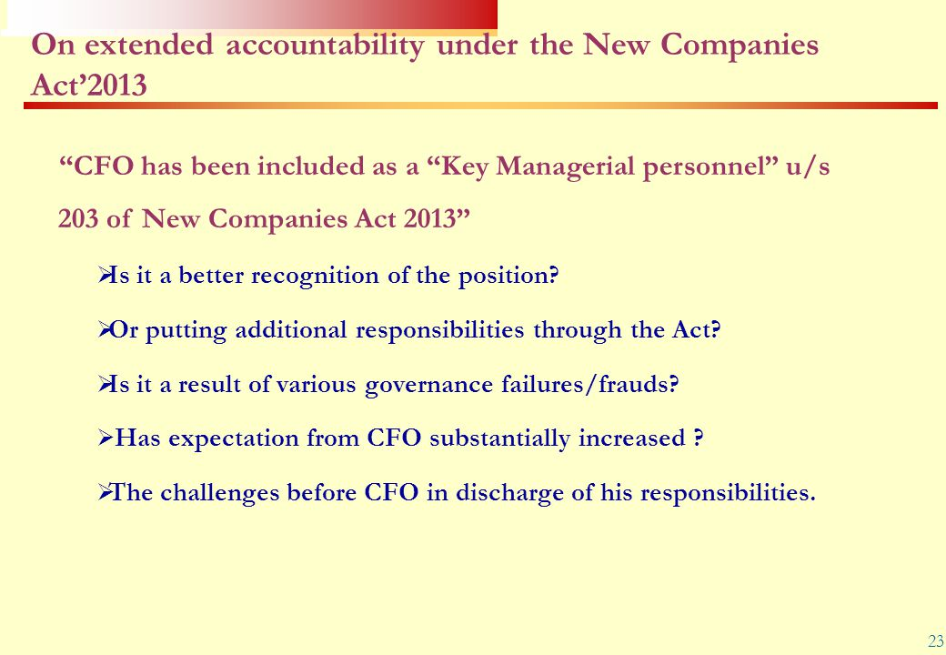 On extended accountability under the New Companies Act'2013
