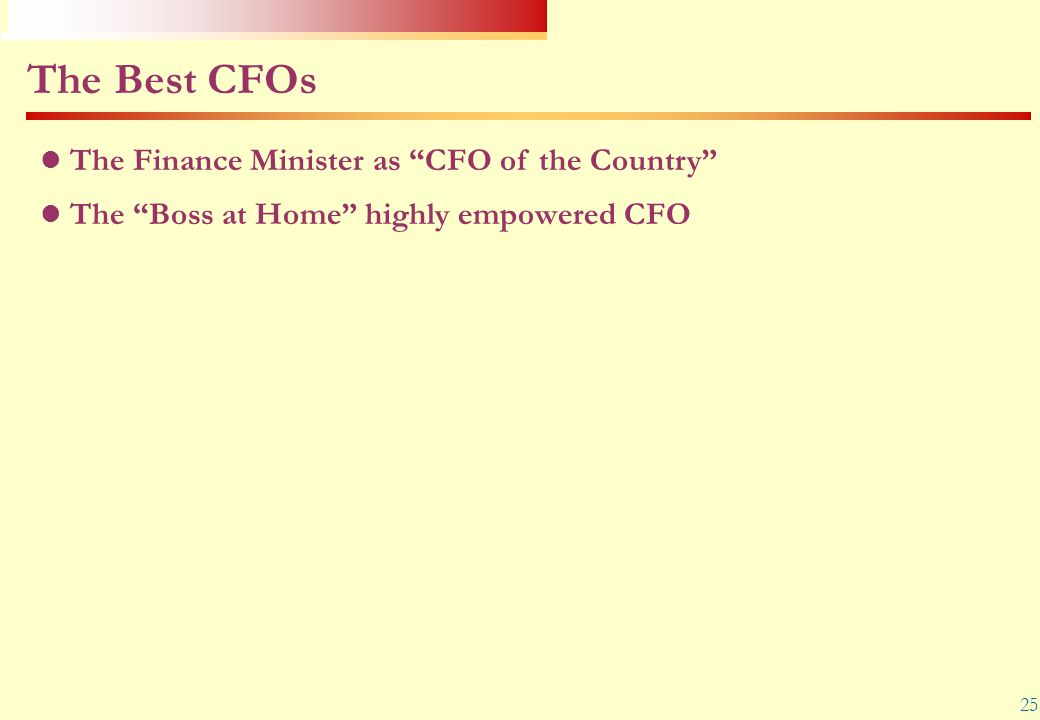 The Best CFOs The Finance Minister as CFO of the Country