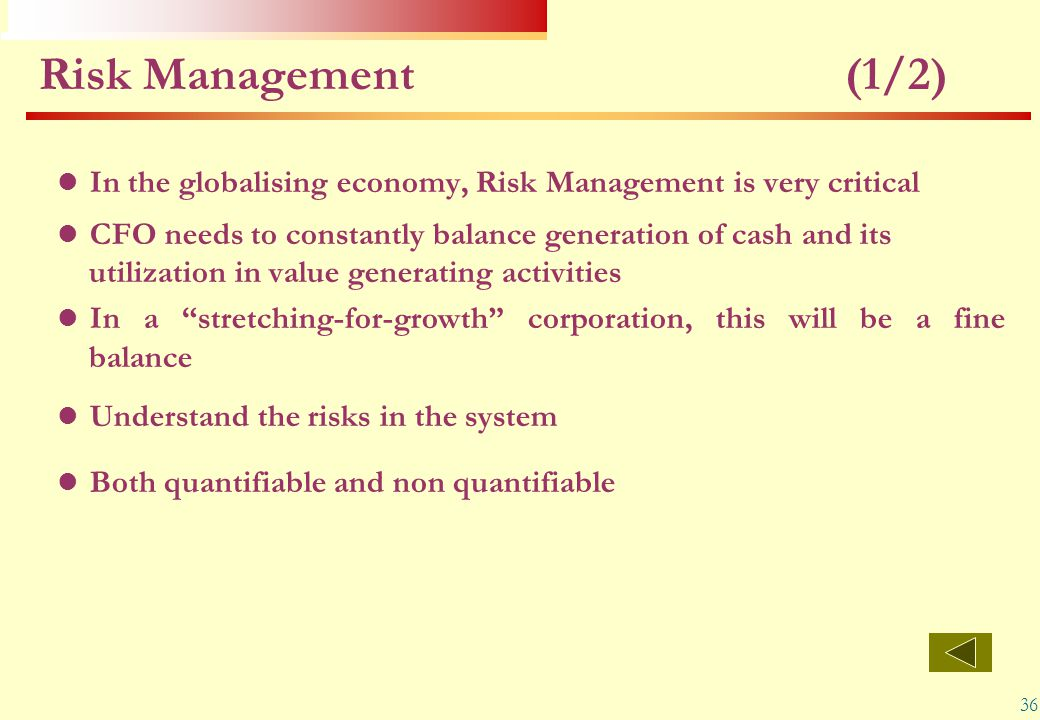 Risk Management (1/2) In the globalising economy, Risk Management is very critical.