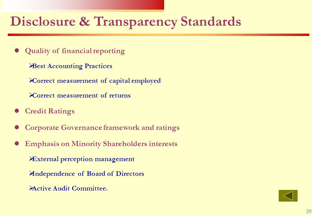 Disclosure & Transparency Standards