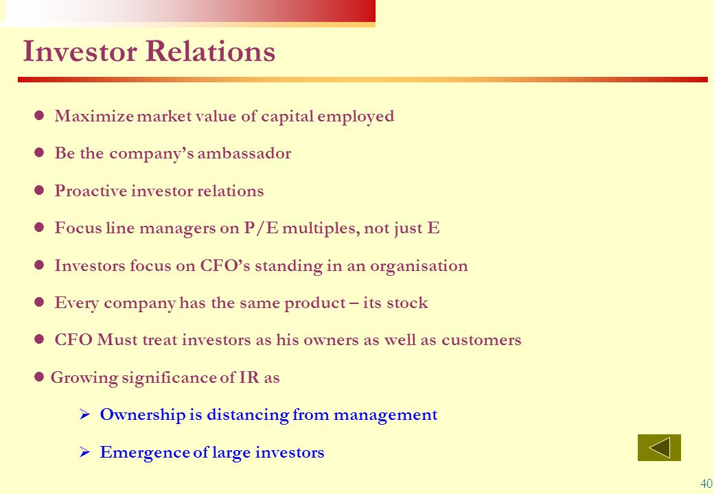 Investor Relations - its stock