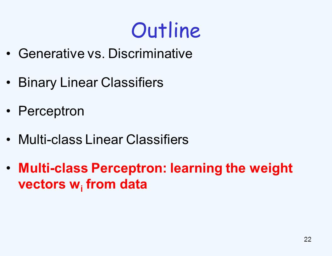 Learning: Multiclass Perceptron