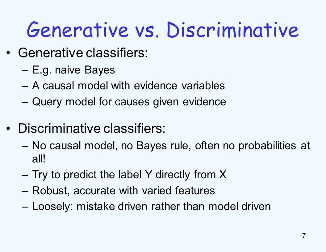 Outline Generative vs. Discriminative Binary Linear Classifiers