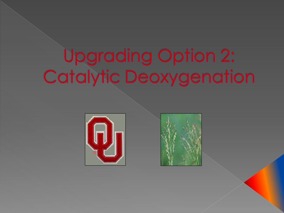 Upgrading Option 2: Catalytic Deoxygenation