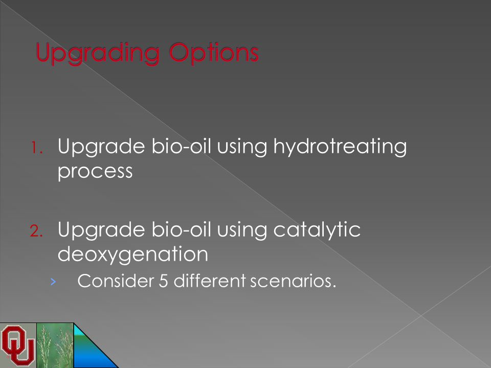 Upgrading Options Upgrade bio-oil using hydrotreating process