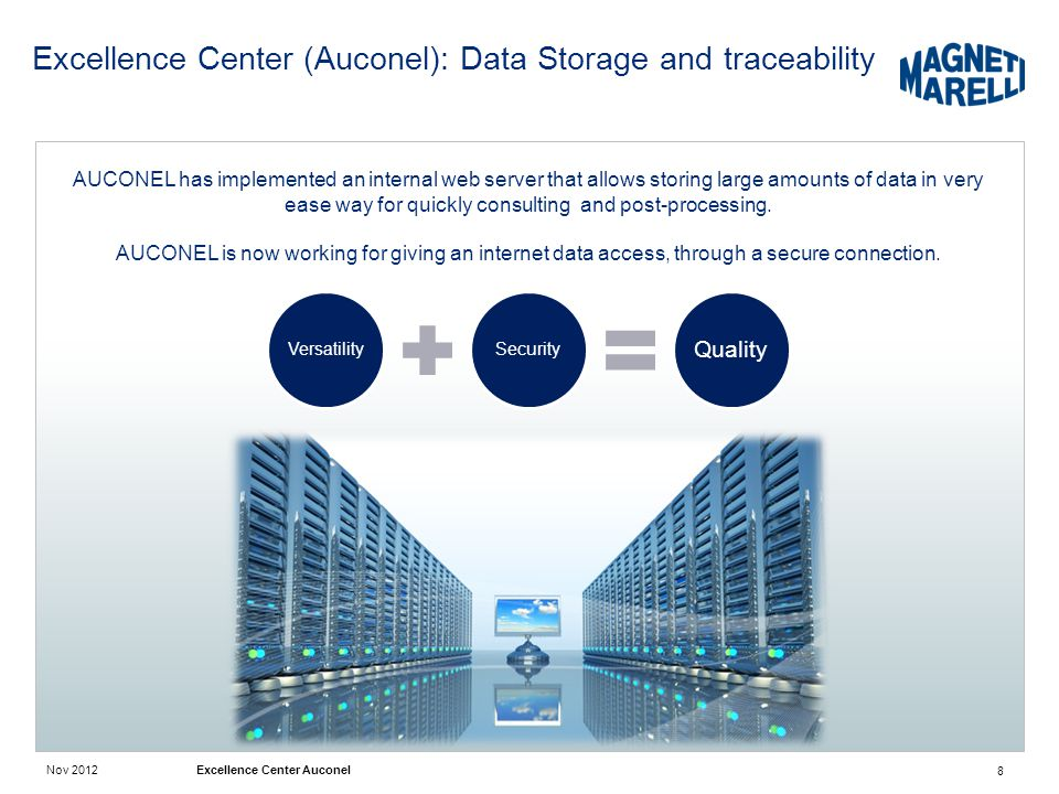 Excellence Center (Auconel): Data Storage and traceability