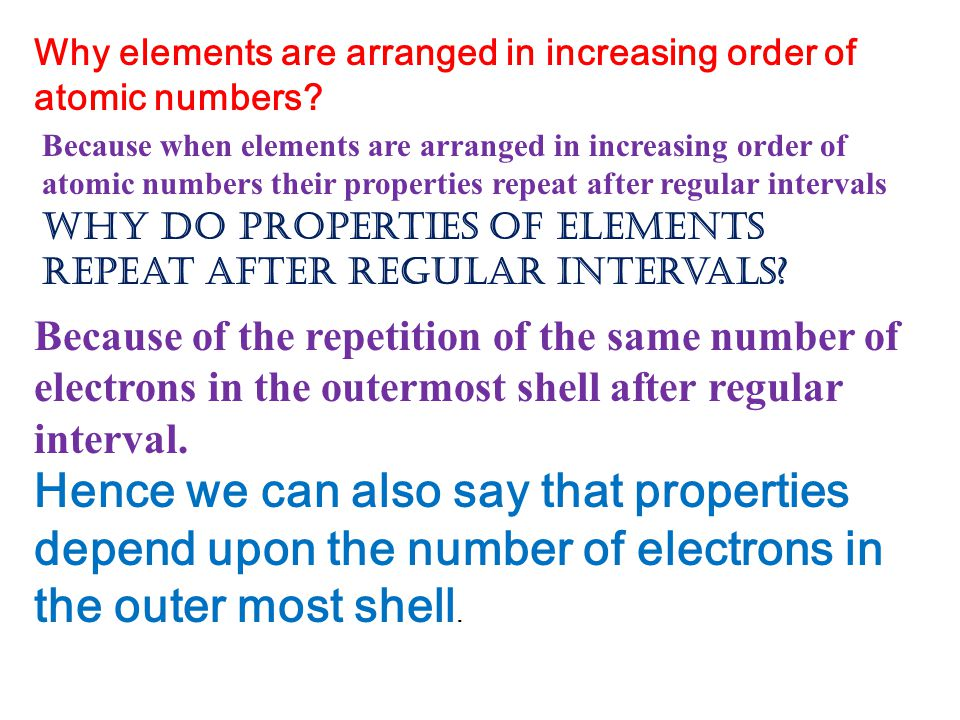 Why elements are arranged in increasing order of atomic numbers