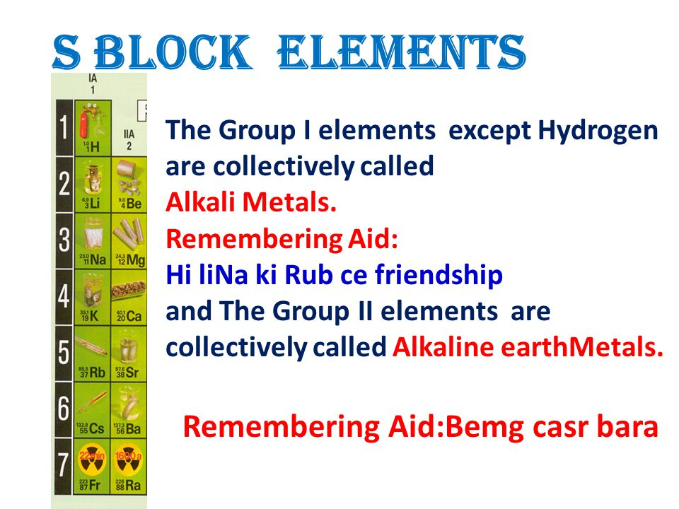 S Block Elements Remembering Aid:Bemg casr bara