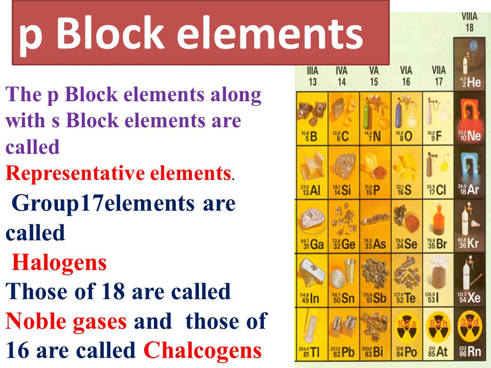 p Block elements Group17elements are called Halogens