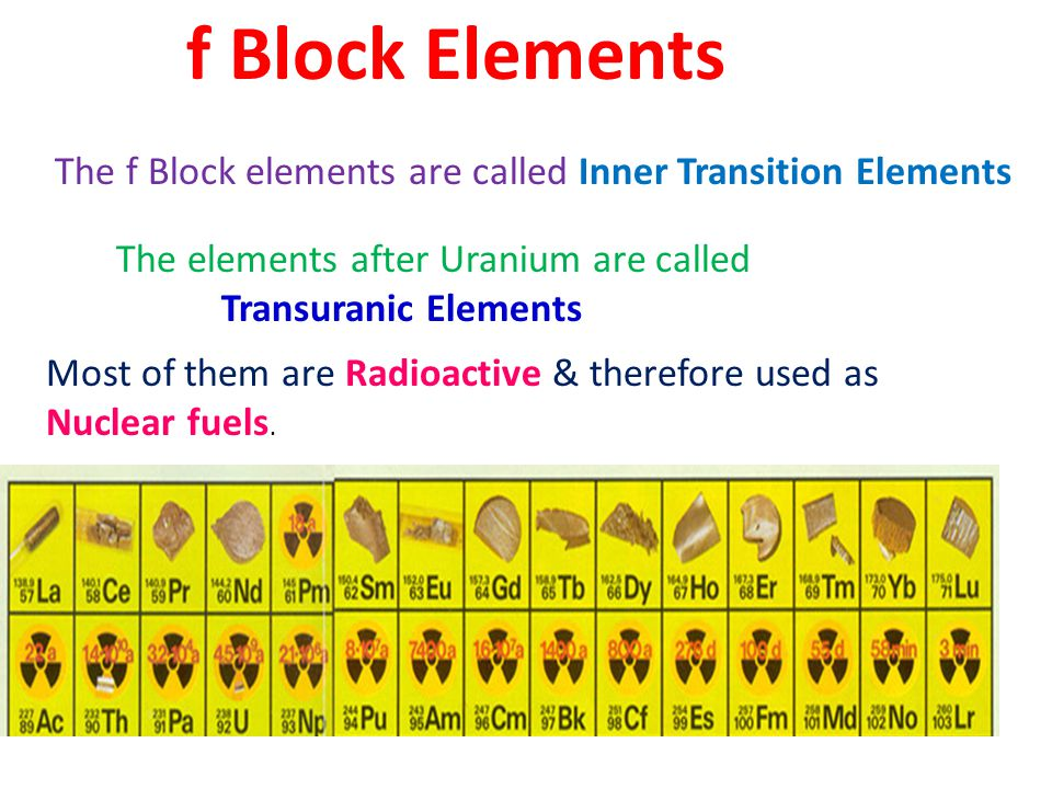 f Block Elements The f Block elements are called Inner Transition Elements. The elements after Uranium are called.