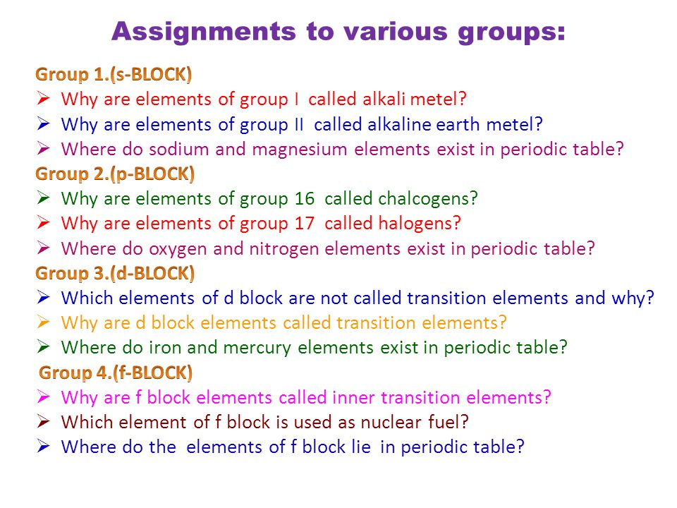 Assignments to various groups: