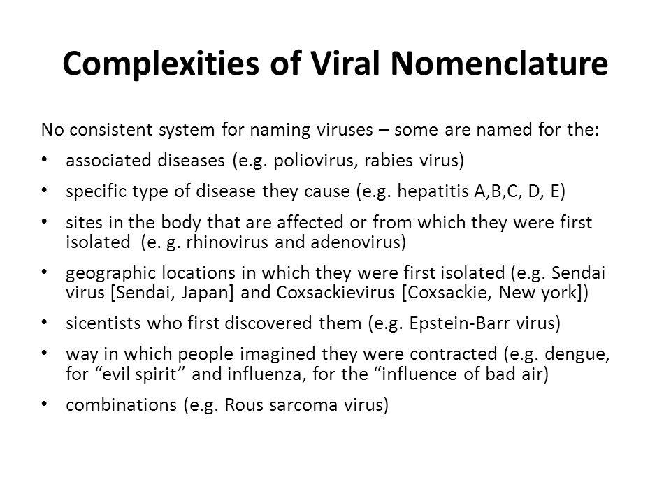 Complexities of Viral Nomenclature