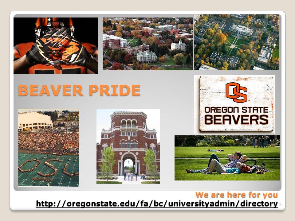 BEAVER PRIDE We are here for you http://oregonstate.edu/fa/bc/universityadmin/directory