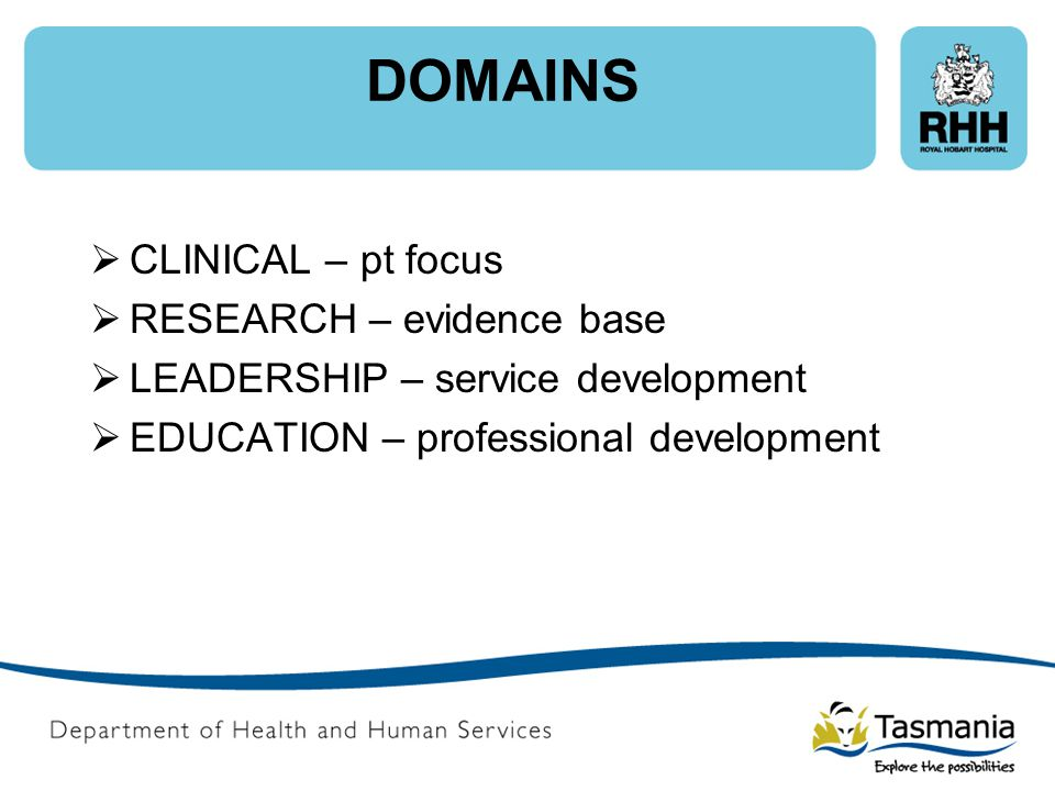 DOMAINS CLINICAL – pt focus RESEARCH – evidence base