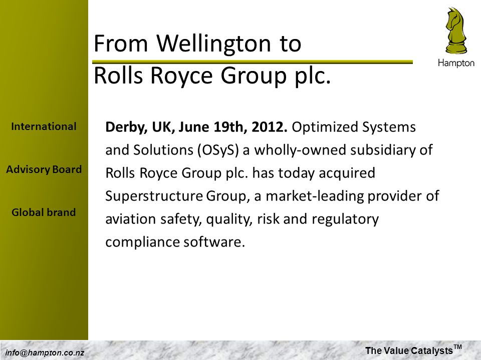 From Wellington to Rolls Royce Group plc.