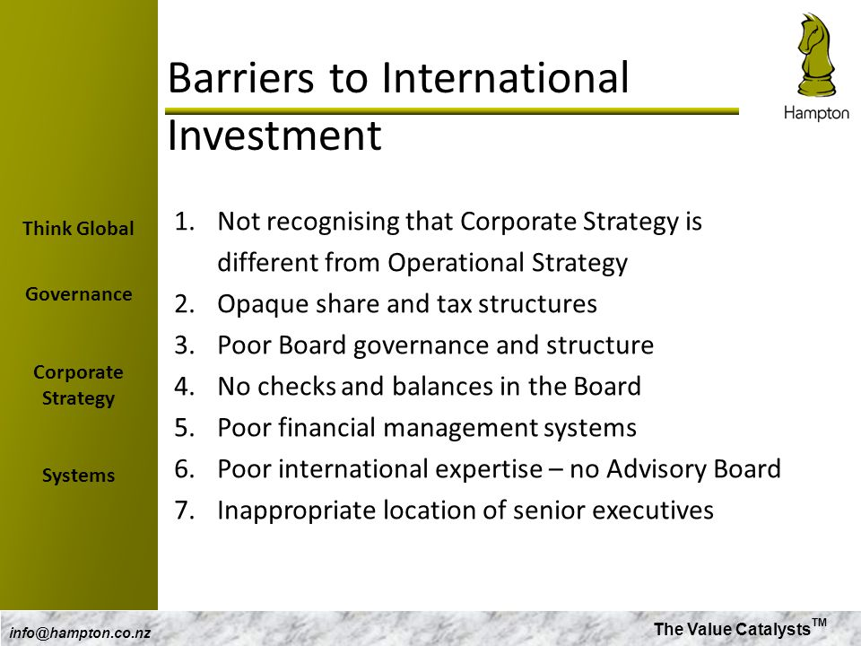 Barriers to International Investment