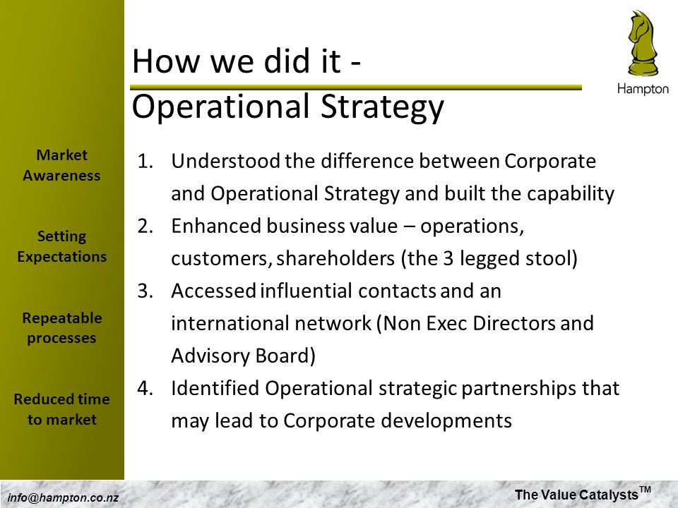 How we did it - Operational Strategy