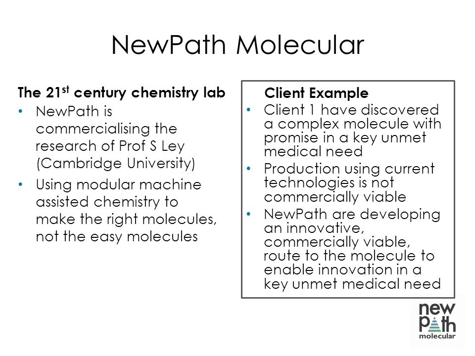 NewPath Molecular The 21st century chemistry lab Client Example