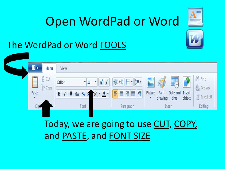 Open WordPad or Word The WordPad or Word TOOLS