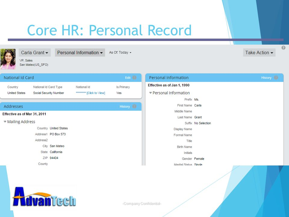 Core HR: Personal Record