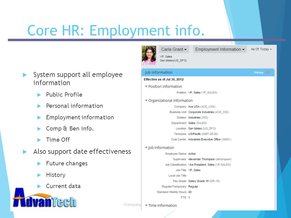 Core HR: Employment info.