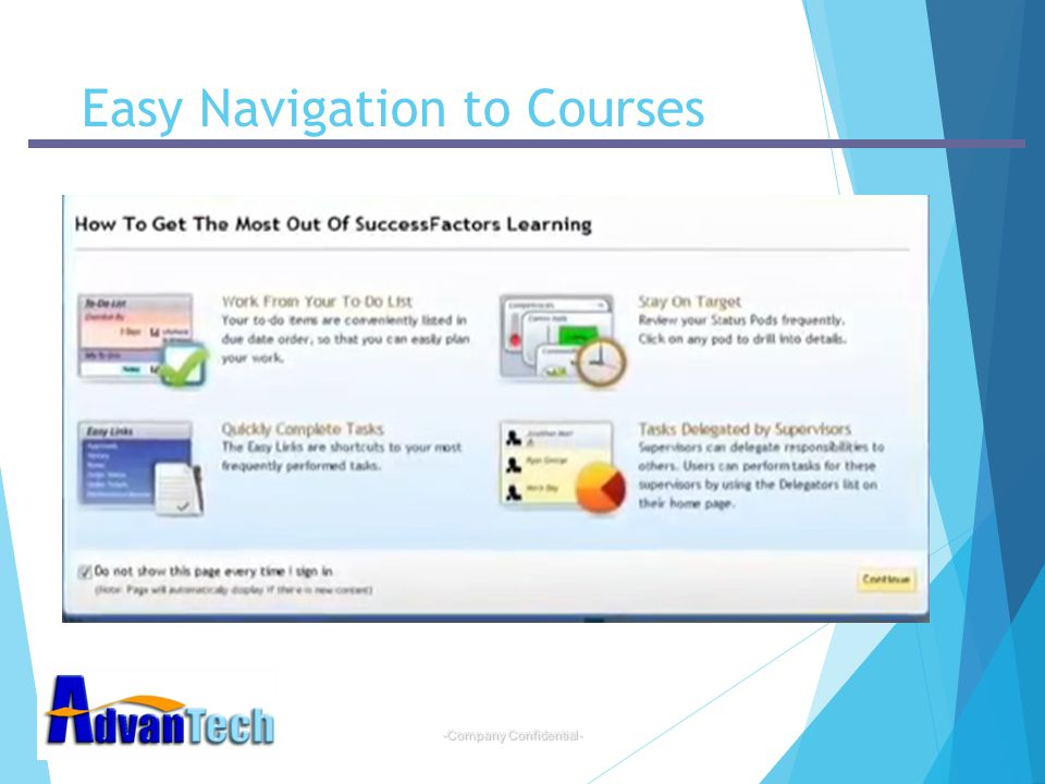 Easy Navigation to Courses