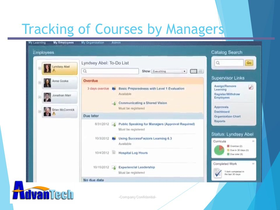 Tracking of Courses by Managers