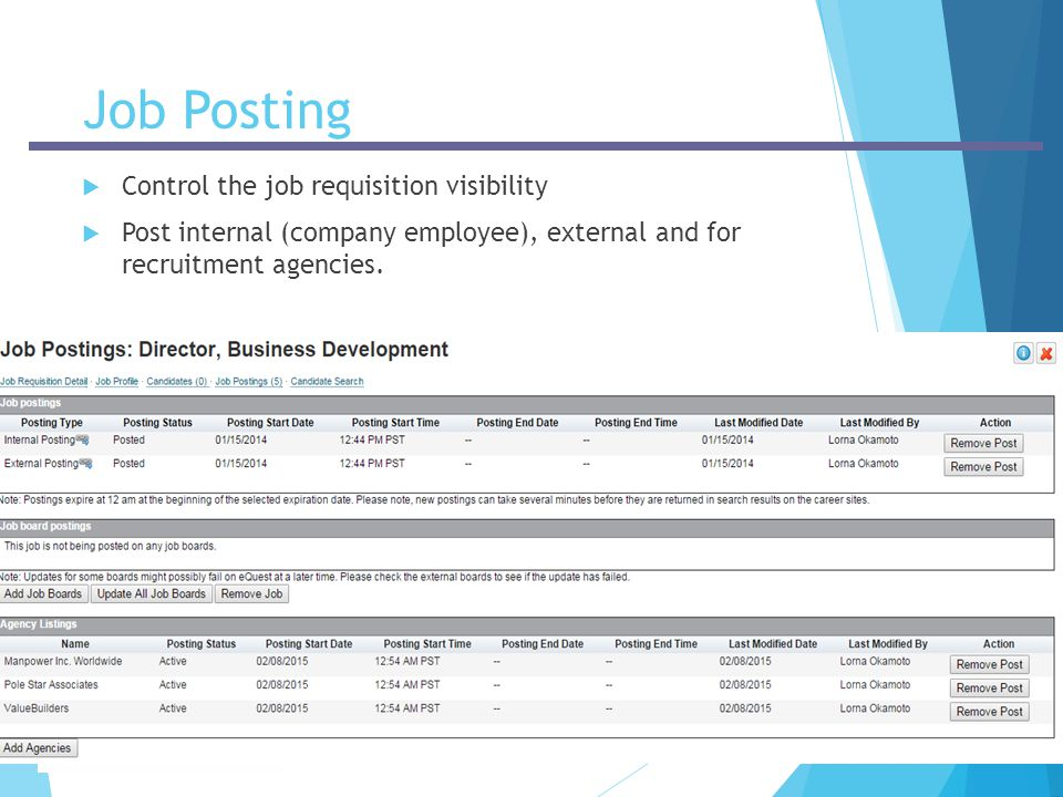 Job Posting Control the job requisition visibility