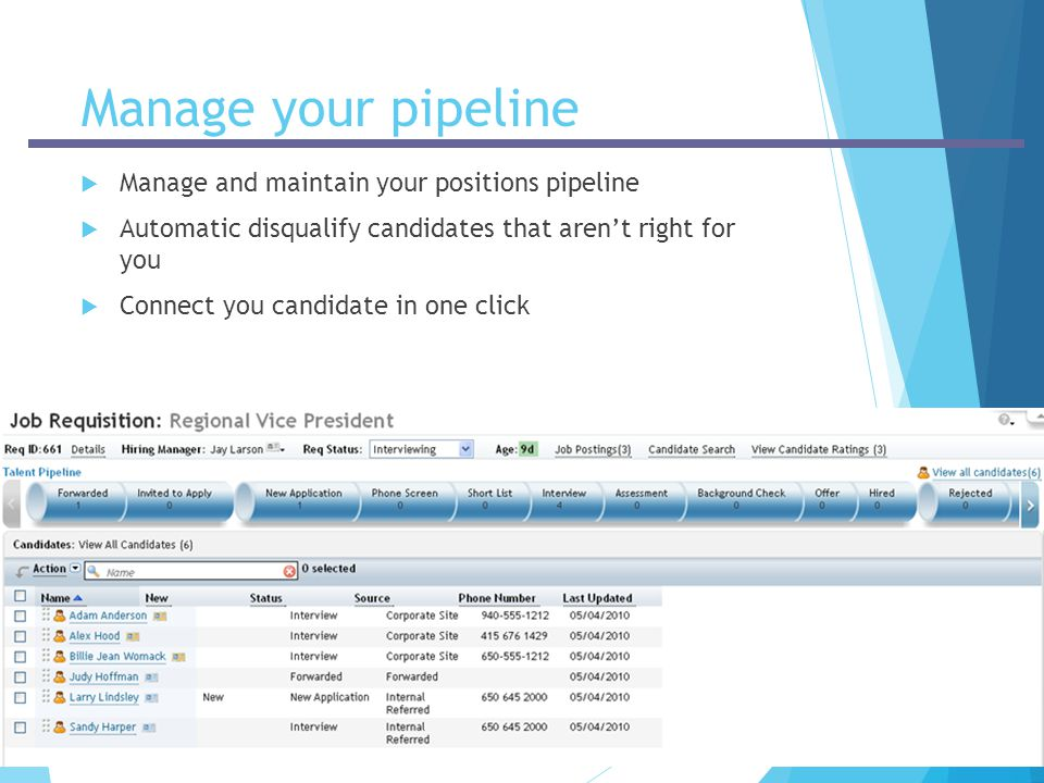 Manage your pipeline Manage and maintain your positions pipeline