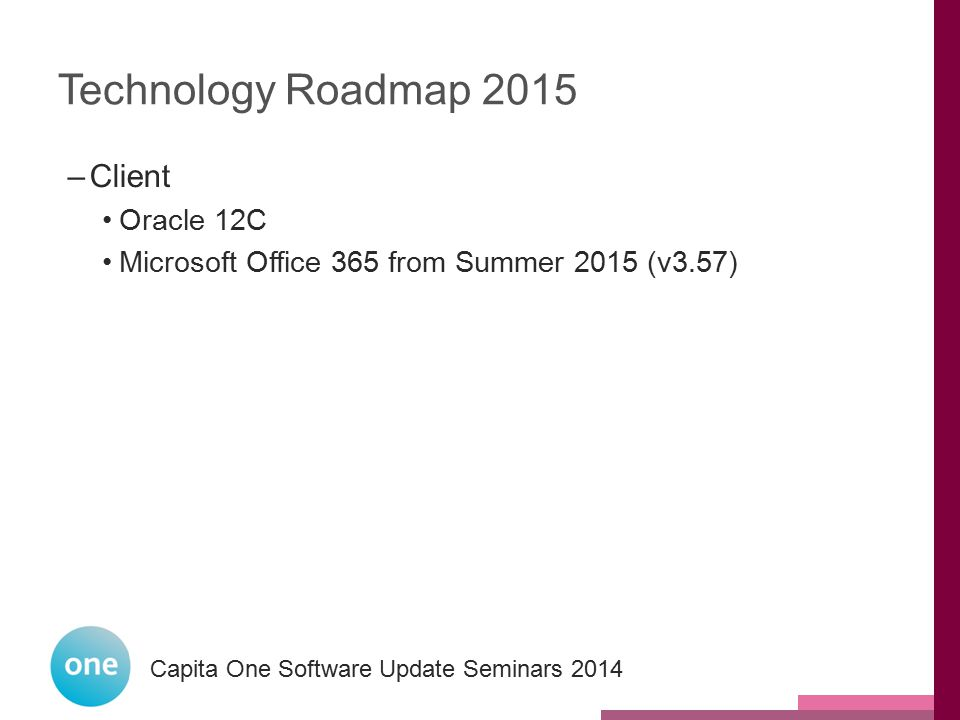 Technology Roadmap 2015 Client Oracle 12C