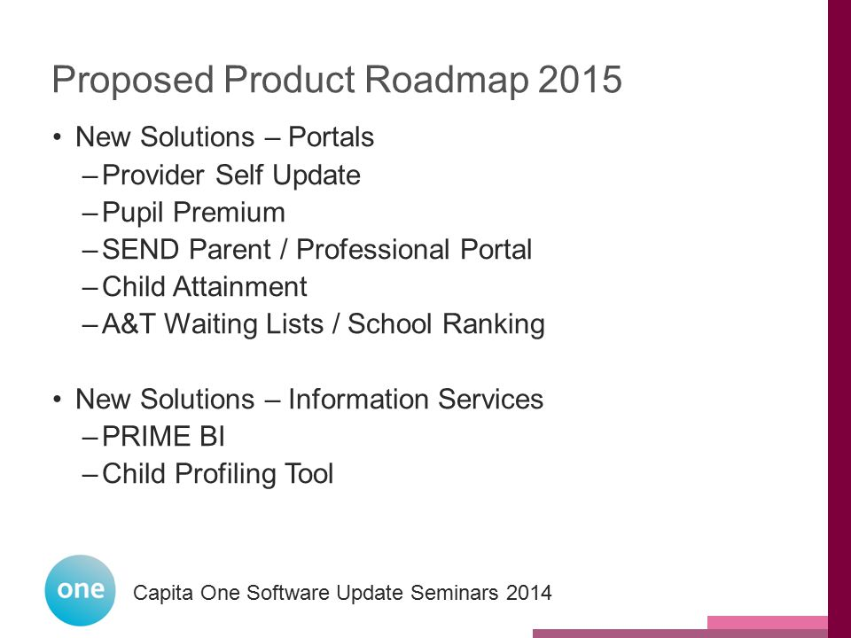 Proposed Product Roadmap 2015