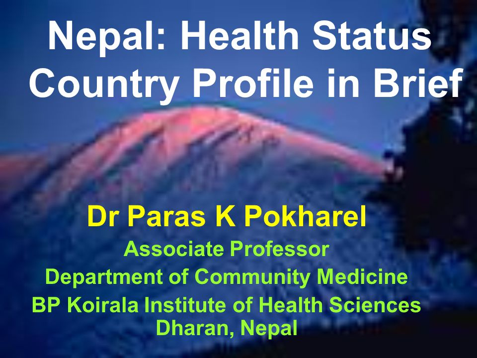 Nepal: Health Status Country Profile in Brief