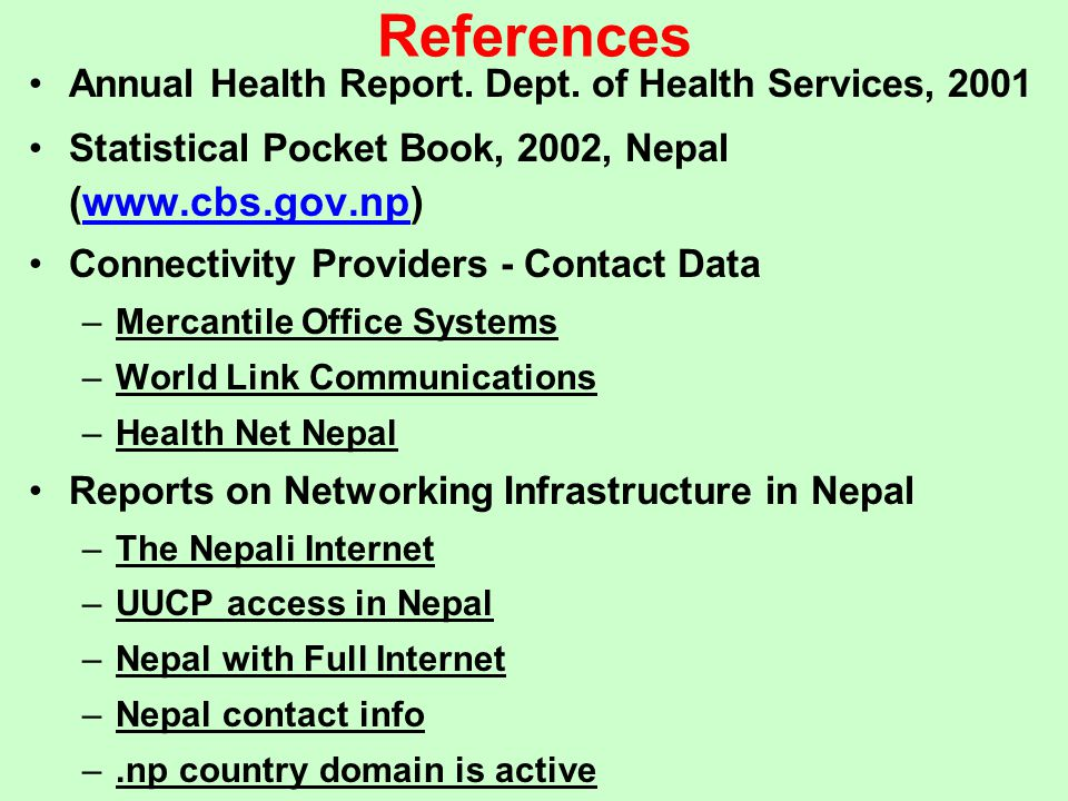 References Annual Health Report. Dept. of Health Services, 2001
