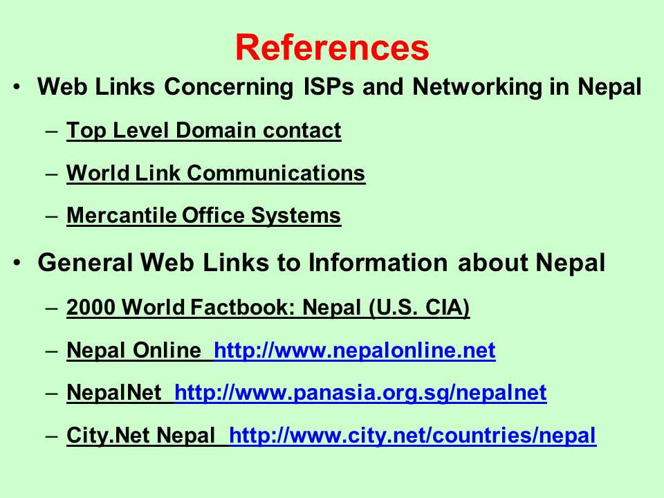 References General Web Links to Information about Nepal