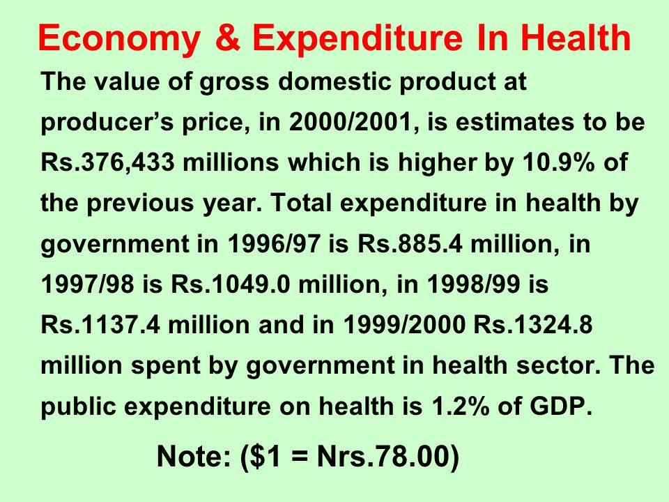 Economy & Expenditure In Health