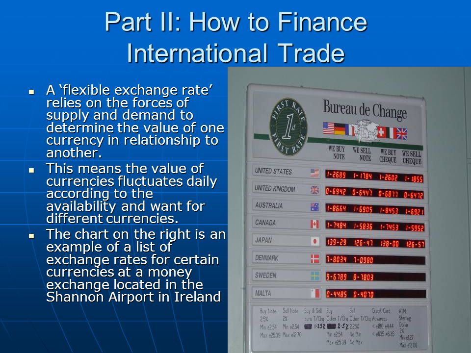 Part II: How to Finance International Trade