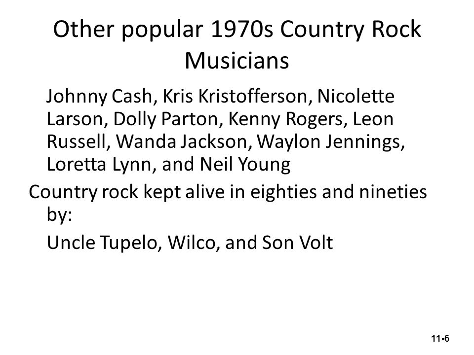 Other popular 1970s Country Rock Musicians