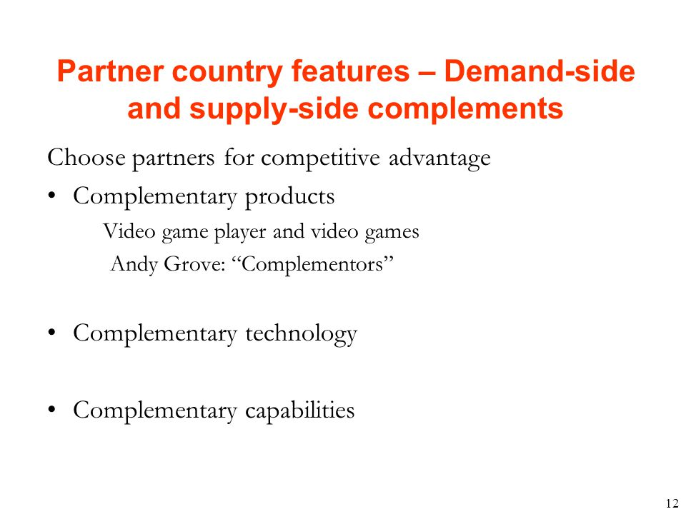 Partner country features – Demand-side and supply-side complements