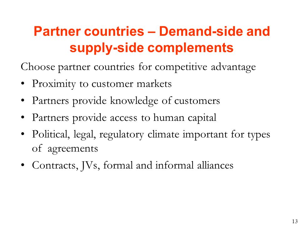 Partner countries – Demand-side and supply-side complements