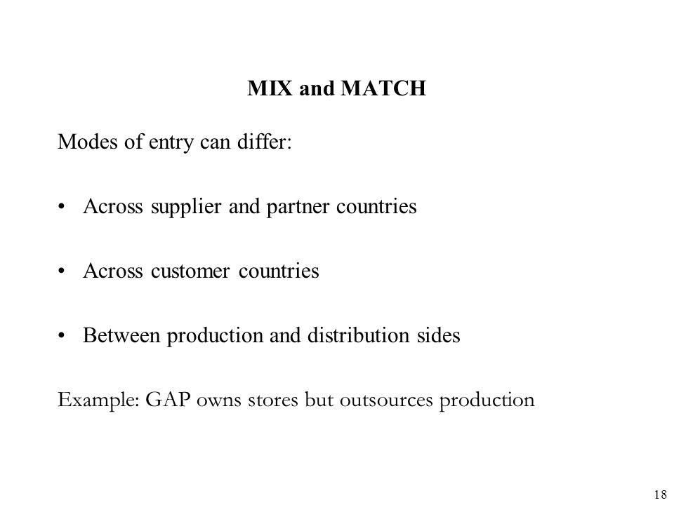 MIX and MATCH Modes of entry can differ: Across supplier and partner countries. Across customer countries.