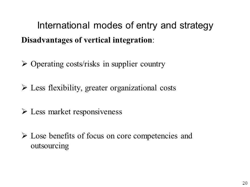 International modes of entry and strategy